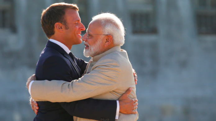 French President Macron and Indian Prime Minister Modi meet at the Chateau of Chantilly, near Paris. (Photo:Reuters)