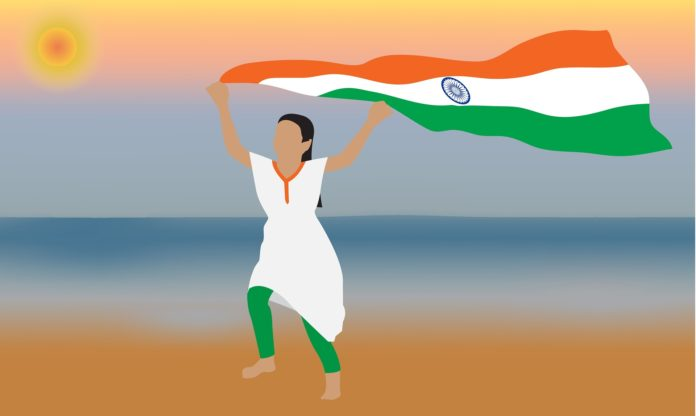 Lady holding Indian Flag