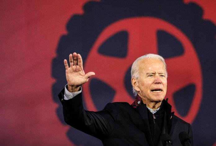 Biden hand gestures during a speech.