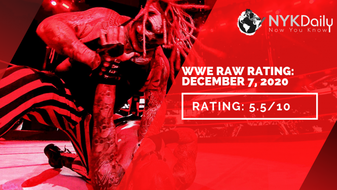 NYK rating of WWE RAW 7TH DECEMBER, 2020