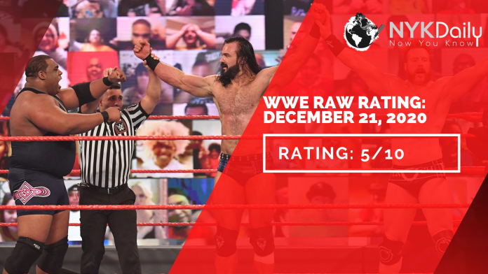 NYK rating of WWE RAW DECEMBER 21, 2020