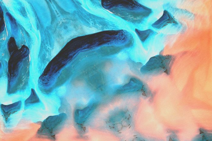 photo of blue and orange abstract painting