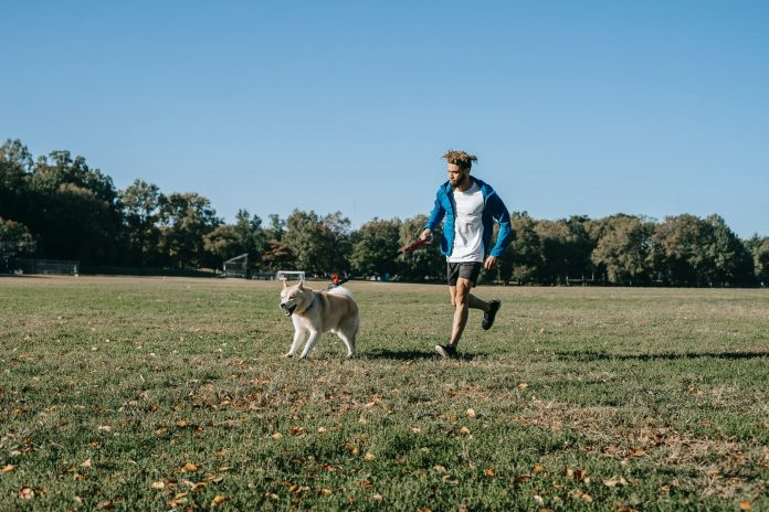 happy man running with dog in park