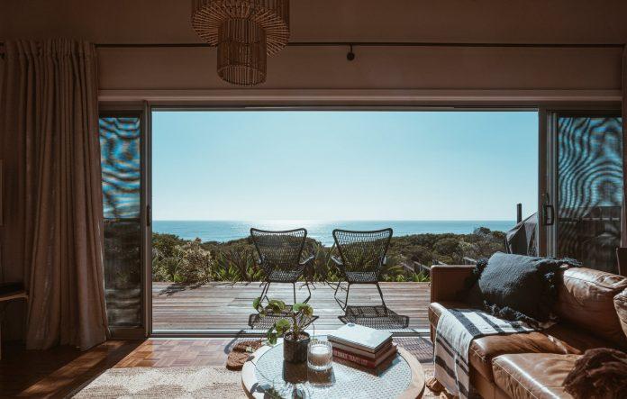 terrace of modern villa overlooking ocean